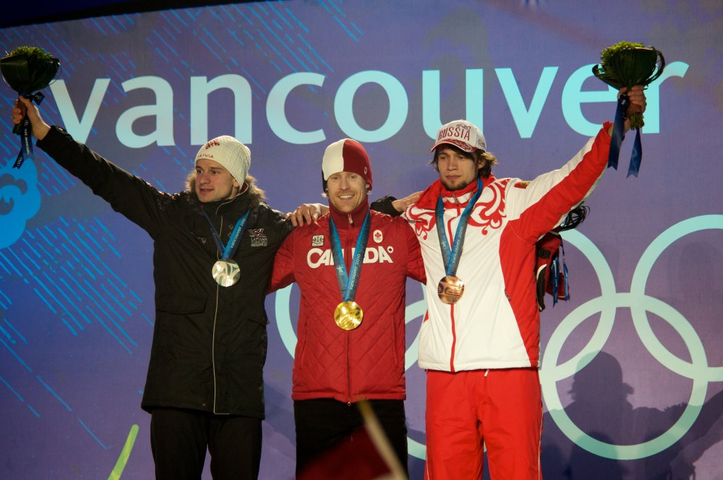Martin Dukurs, Jon Montgomery and Alexander Tretiakov at the Vancouver Winter Olympic Games